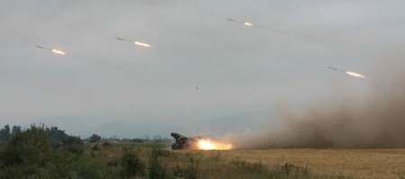 GEORGIAN ARTILLARY TROOPS FIRE AT SOUTH OSSETIAN TROOPS FROM UNNAMED LOCATION