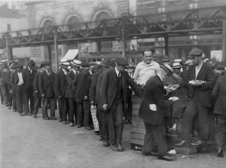 A BREADLINE IN NEW YORK CITY DURING THE GREAT DEPRESSION