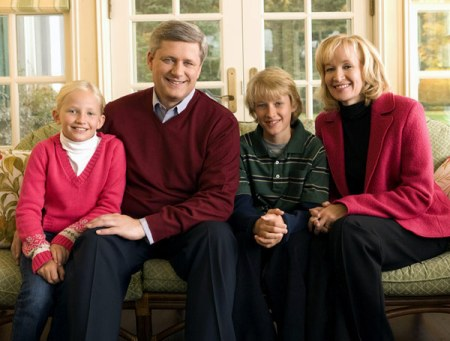 PRIME MINISTER STEPHEN HARPER WITH CHILDREN RACHEL AND BENJAMIN AND WIFE LAUREEN