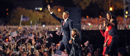 Barack and Michelle Obama at their victory celebration in Chicago