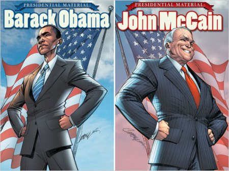 "The covers from ""Presidential Material"" biographical comics published by IDW Publishing (comic art by J. Scott Campbell)"