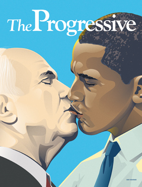 The controversial cover from The Progressive magazine that depicted Mr. McCain and Mr. Obama kissing