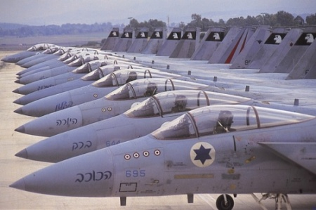 ISRAELI F-16 WAR JETS, WHICH WERE SUPPLIED BY THE UNITED STATES AND BUILT BY LOCKHEED MARTIN.  THE WAR JETS WERE ORIGINALLY DEVELOPED BY GENERAL DYNAMICS FOR THE UNITED STATES AIR FORCE.