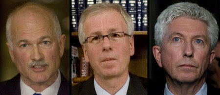 JACK LAYTON OF THE NEW DEMOCRATIC PARTY, STEPHANE DION OF THE LIBERAL PARTY AND GILLES DUCEPPE OF BLOC QUEBECOIS