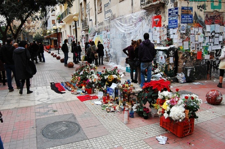 A MEMORIAL FOR ALEXANDROS GRIGOROPOULOS NEAR THE AREA WHERE HE WAS KILLED IN ATHENS.