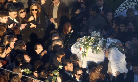 THE COFFIN OF ALEXANDROS GRIGOROPOULOS IS CARRIED AT A FUNERAL ON DEC. 9, 2008 IN THE OUTSKIRTS OF ATHENS
