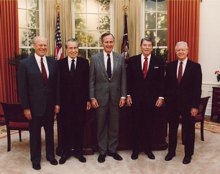 GERALD FORD, RICHARD NIXON, GEORGE H. W. BUSH, RONALD REAGAN AND JIMMY CARTER (DEDICATION OF THE RONALD REAGAN PRESIDENTIAL LIBRARY -- 1991)